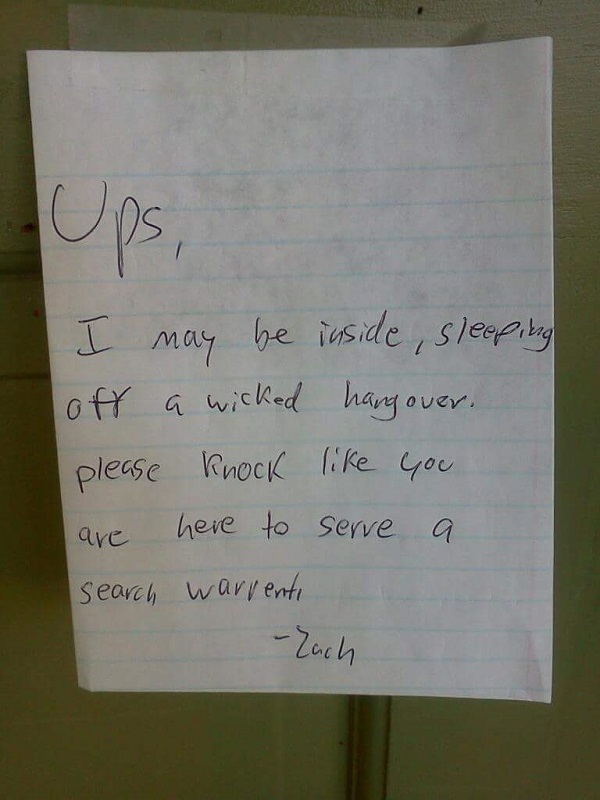funny delivery guy notes