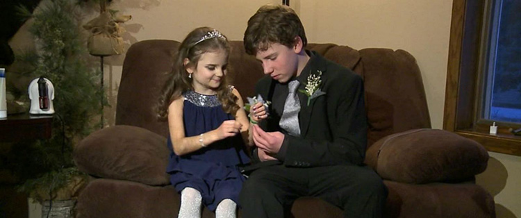 brother takes little sister with cancer to prom