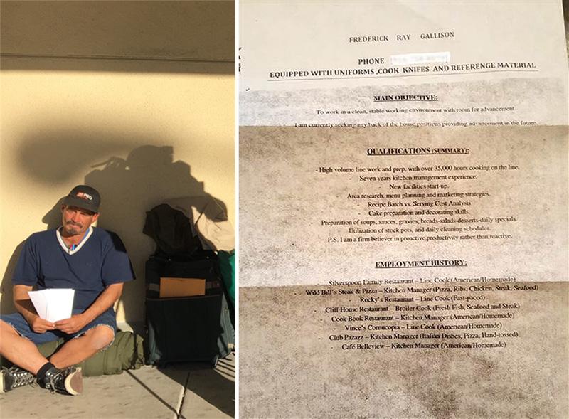 homeless man resumes gets job