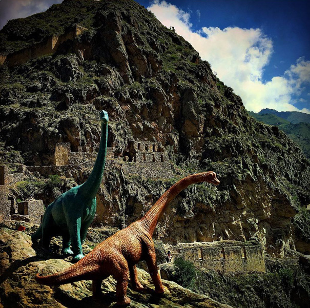 travel photos with toy dinosaurs