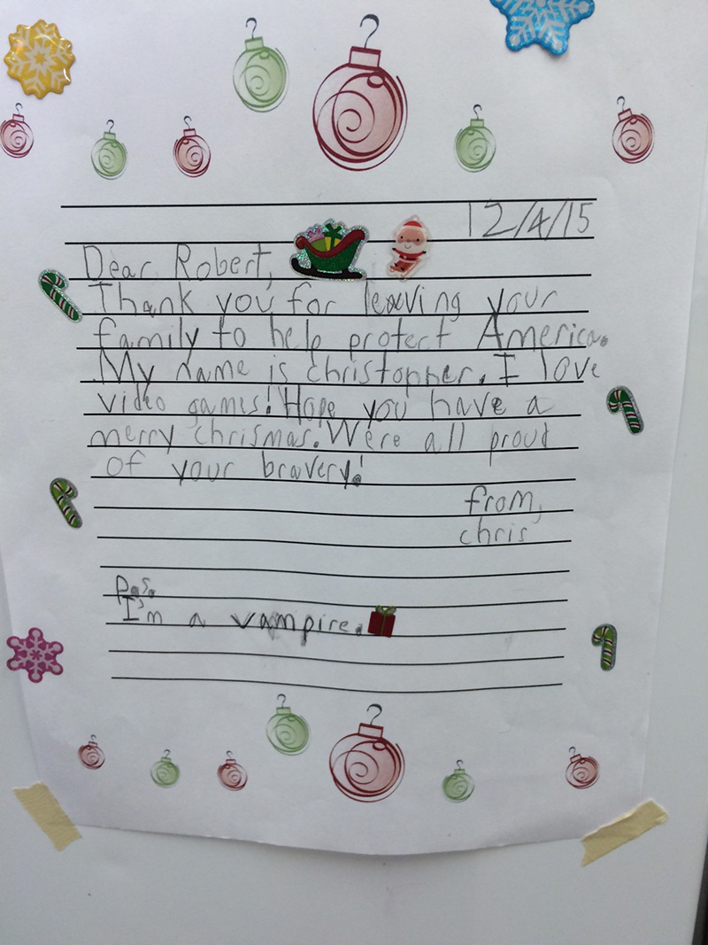 Little boyvampire sends deployed soldier priceless thank you letter expocarfo Images