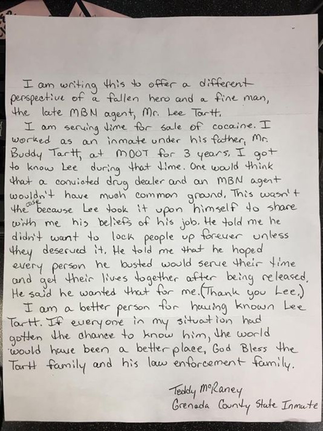 letter to fallen officer from prison inmate