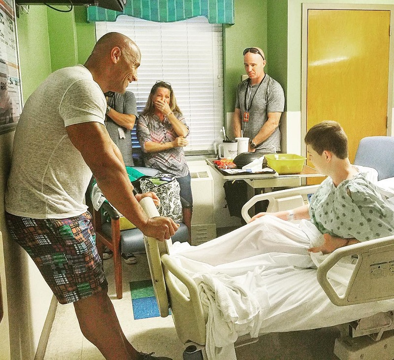 the rock visits childrens hospital
