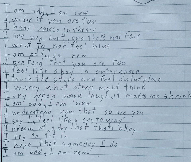 boy with autism writes poem about being odd