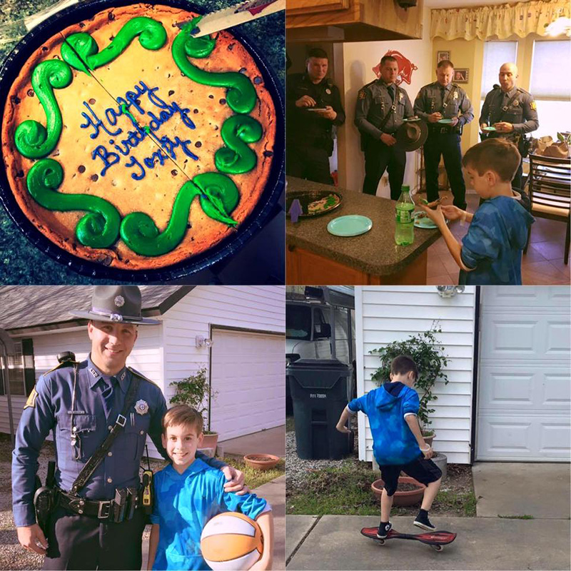 state troopers show up to kids birthday party no one shows up