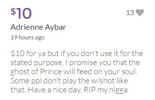 prince gofundme woman funeral funny