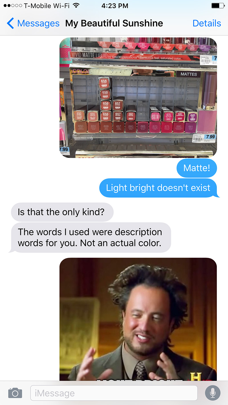 boyfriend tries to buy makeup funny texts