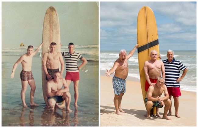 marines return for beach pic 50 years