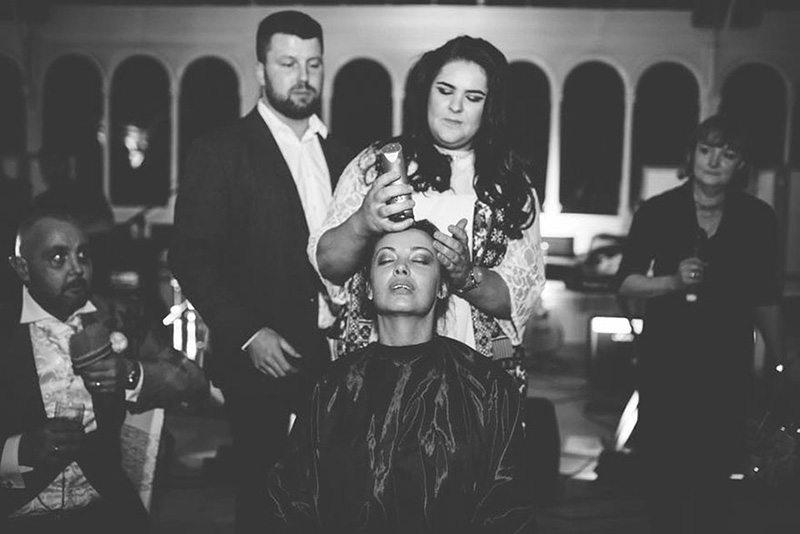 bride shaves head for groom cancer