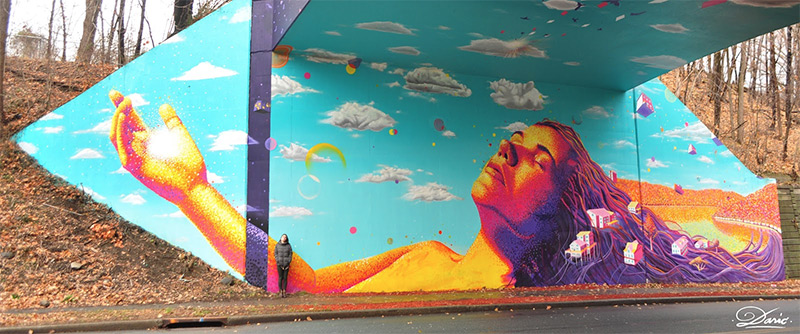 under bridge art optical illusion