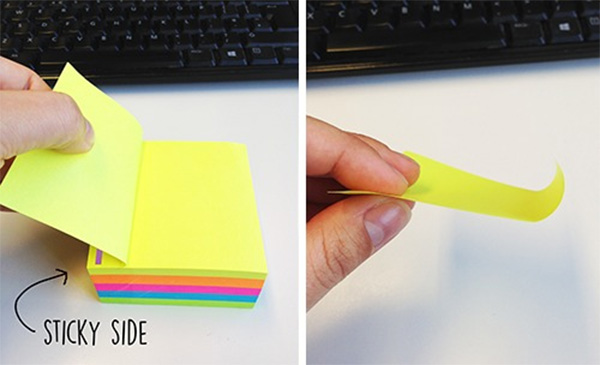 correct way to pull off a post-it note