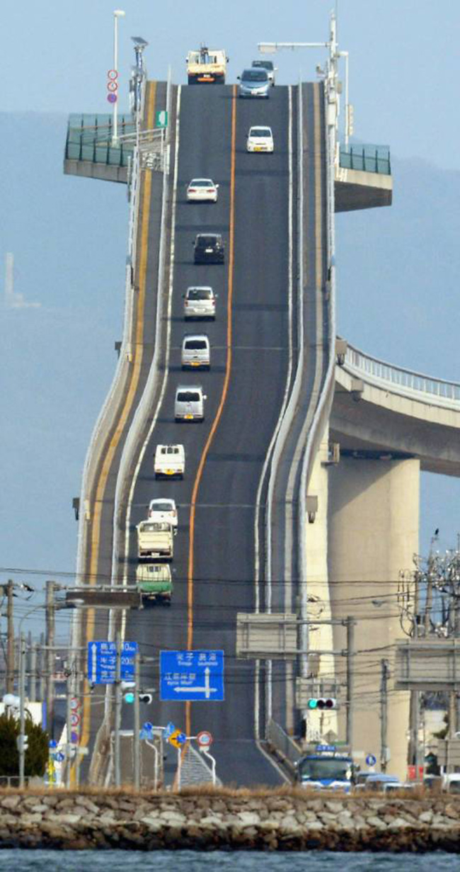 scary steep bridge in Japan