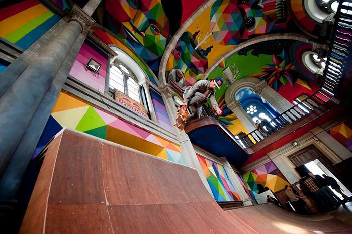 100 year old church skate park spain