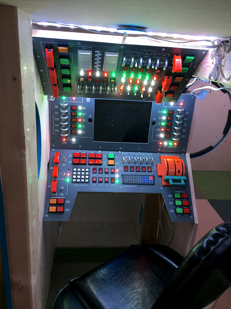 dad builds son spaceship bed control panel