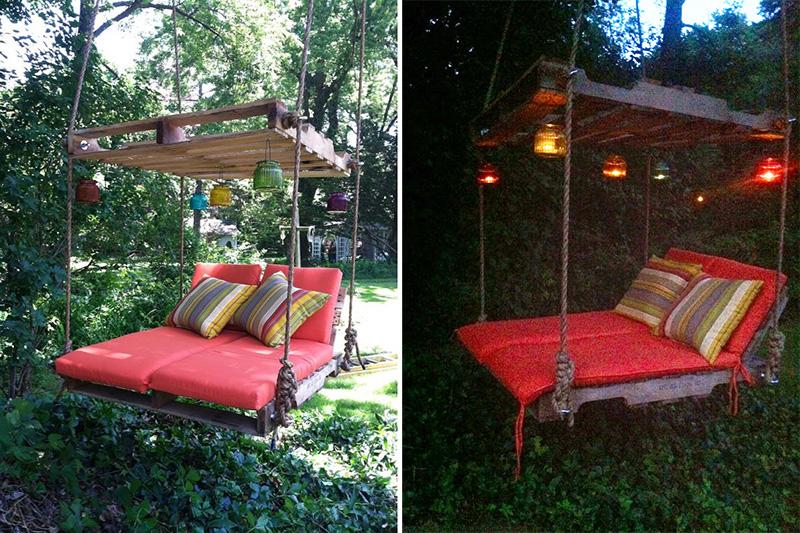 pallet tree swing DIY