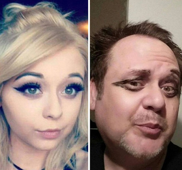 dad recreates selfies of daughter