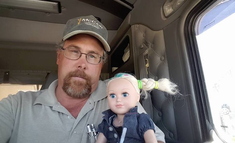 trucker babysits doll