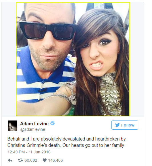 adam levine paying for christina grimmie funeral