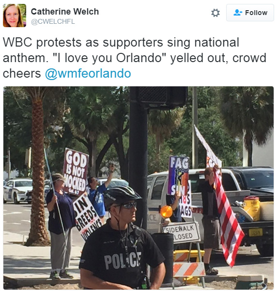 angels drown out protestors orlando
