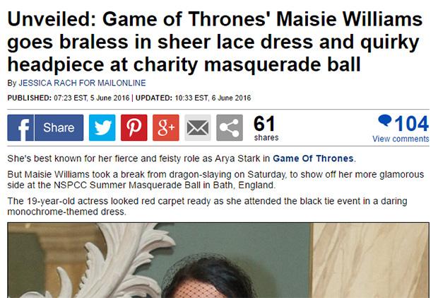 Maisie Williams braless headline rewrite