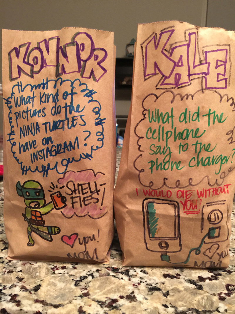 mom lunch bags food puns