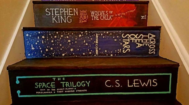 stairs painted like books