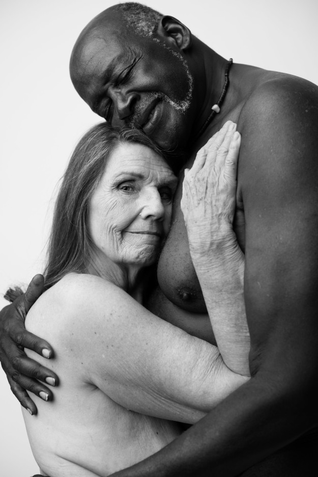 black and white couple in love over 60