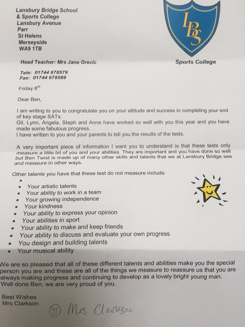 letter to boy with autism failed SAT exam