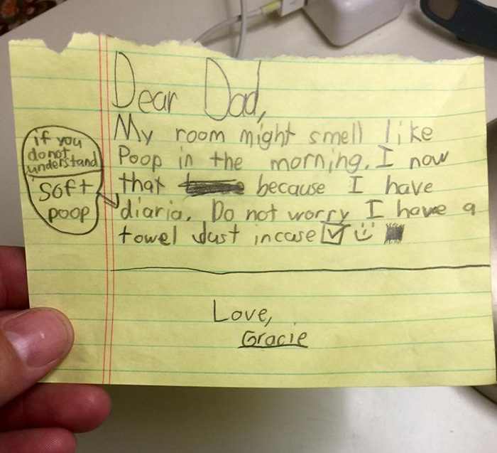 daughter funny poop note to dad