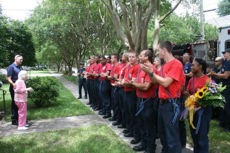 firefighters line up for widow