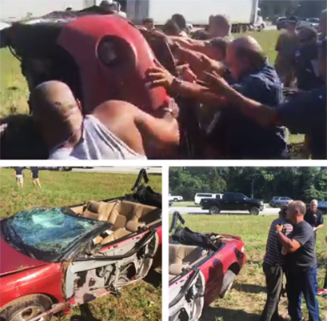 people flip car with man trapped underneath leaking gas