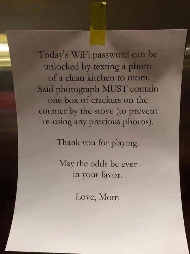 mom clever wifi password for kids idea