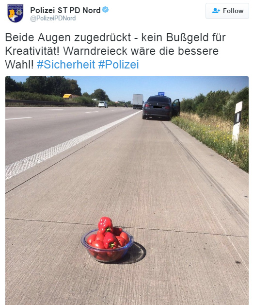 Lithuanian driver uses bowl of tomatoes for warning triangle