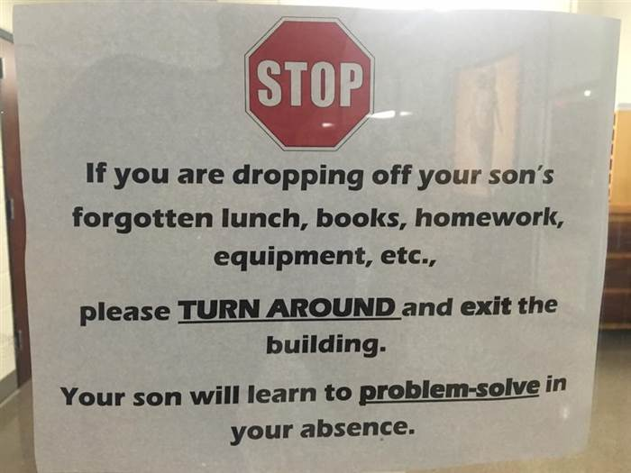 school says let kids problem solve without parents
