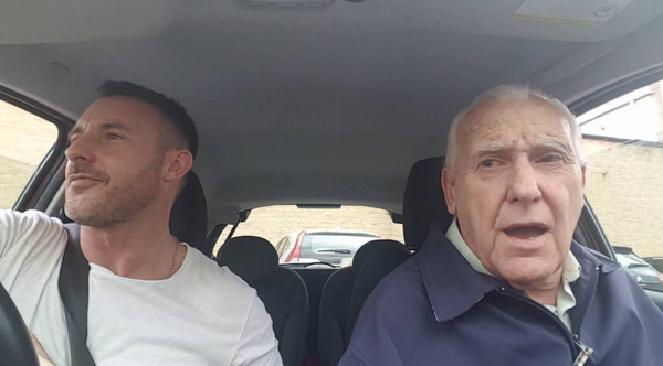 dad with alzheimers sings in car with son