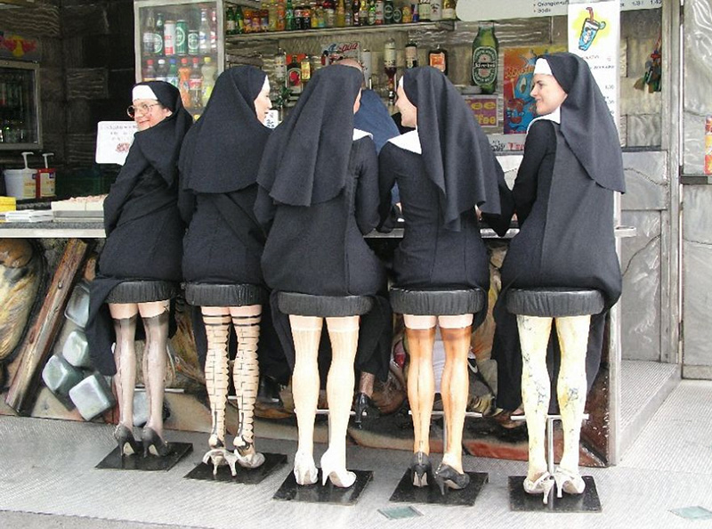 nuns on sexy leg bar stools