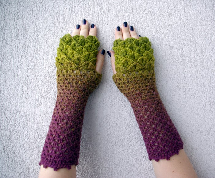 Beautiful Dragon Gloves With Crocodile Stitch Scales Will Keep You