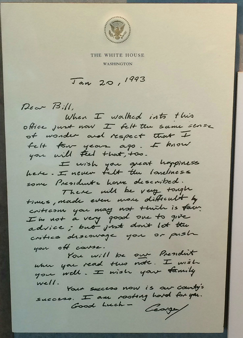letter from George H Bush to Bill Clinton