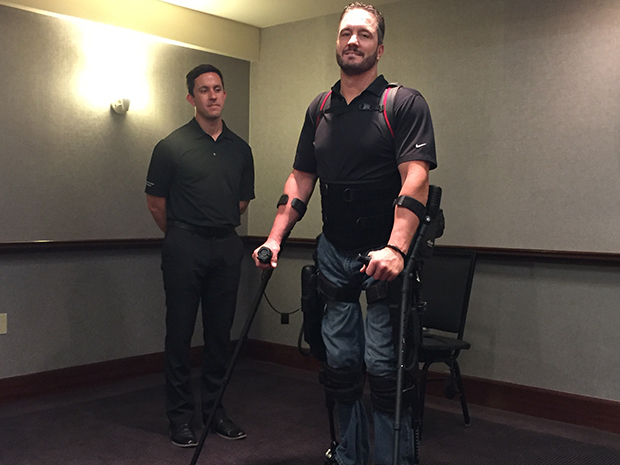 exoskeleton man walks first time