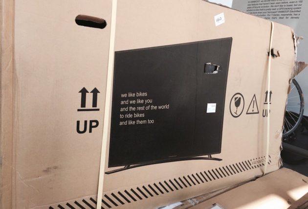 bike manufacturer prints tv on box to reduce damages
