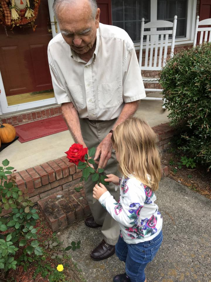 little girl helps old man good news