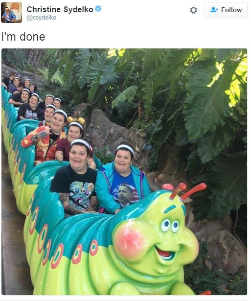 girl face looks like caterpillar ride funny