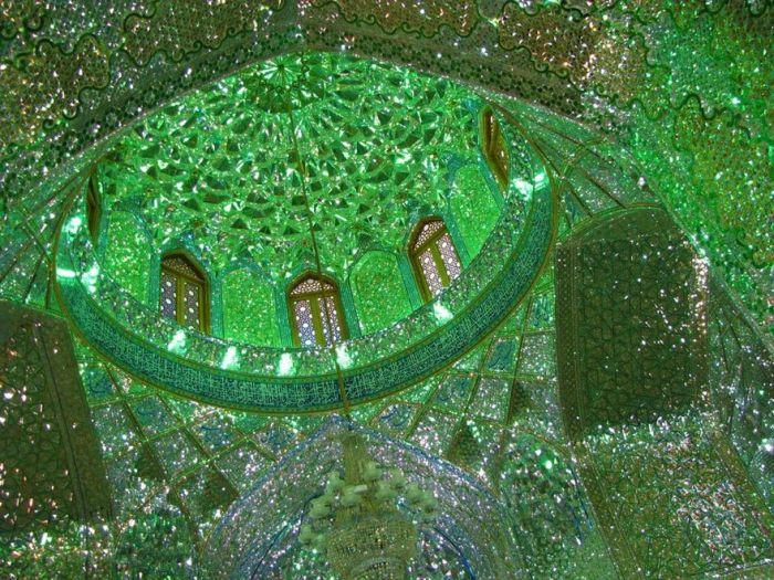 inside mosque green glass