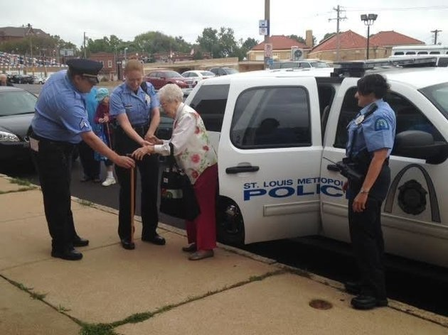 102 year old woman asks to be handcuffed