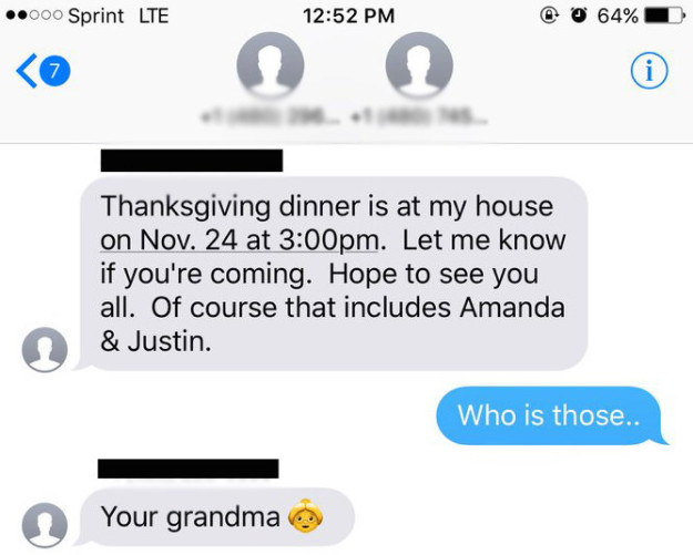 grandma texts wrong person thanksgiving