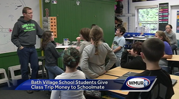 students give trip money to boy who lost mom to cancer