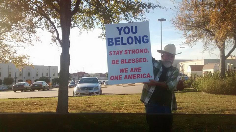 Texas man sign outside of mosque