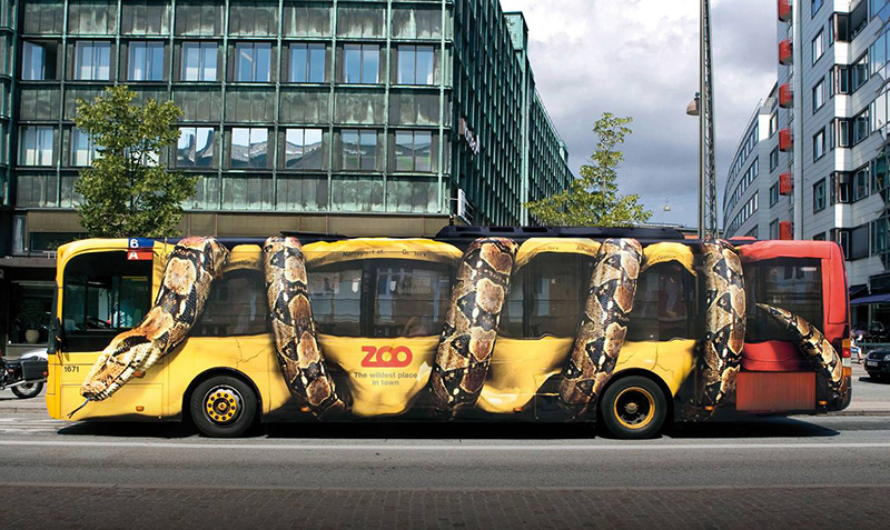 zoo bus snake wrapped around it