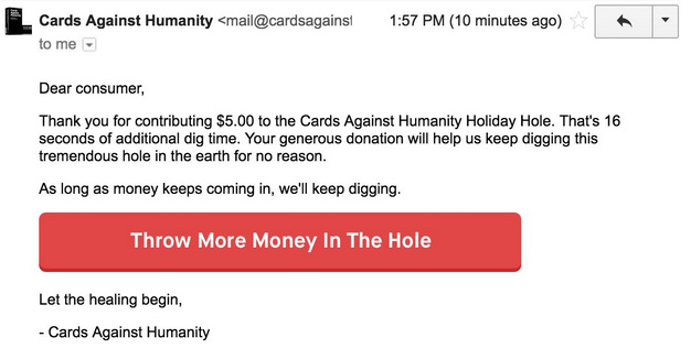 cards against humanity digs hole black friday