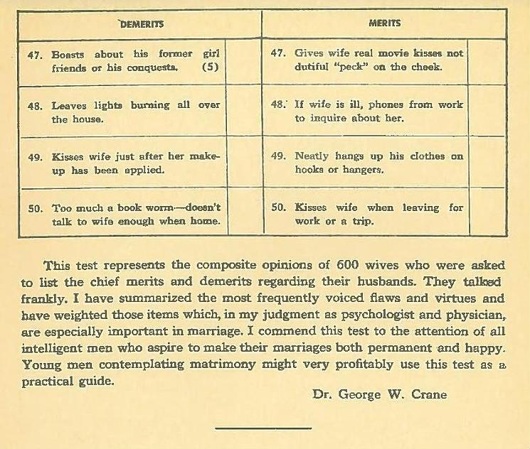 husband rating chart 1930s